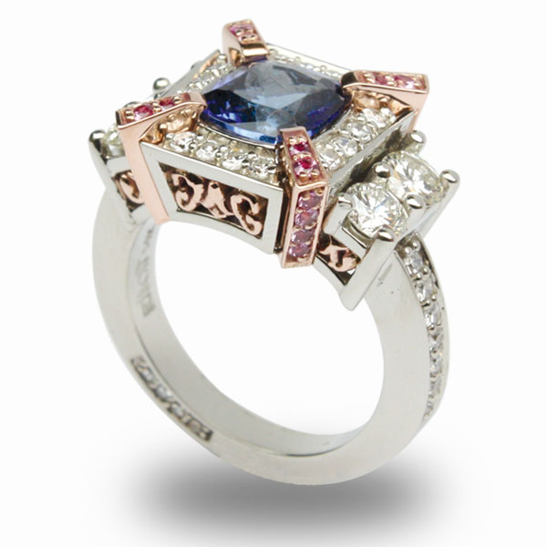 14k_White_'Rose_Ring_With Tanzanite_Diamond_PinkSapp