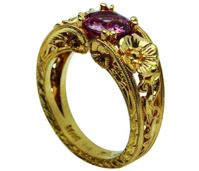 Padparasha Sapp YG Ring