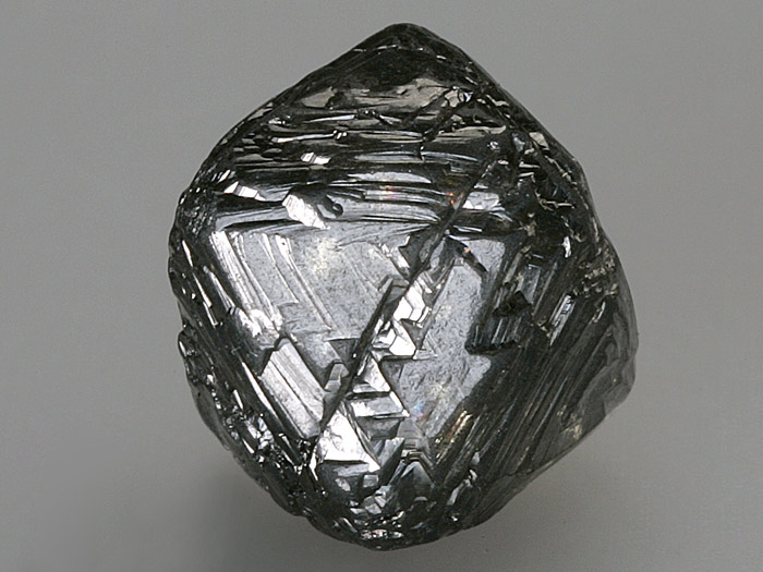 Uncut diamond rough displaying the crystal's octahedral growth structure