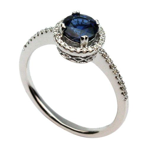 Custom White Gold Sapphire Halo Ring
