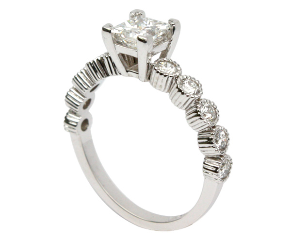 Princess Cut Engagement Ring with Bezel Sides