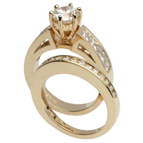 Elegant Yellow Gold Wedding Set with Channel-Set Sides.