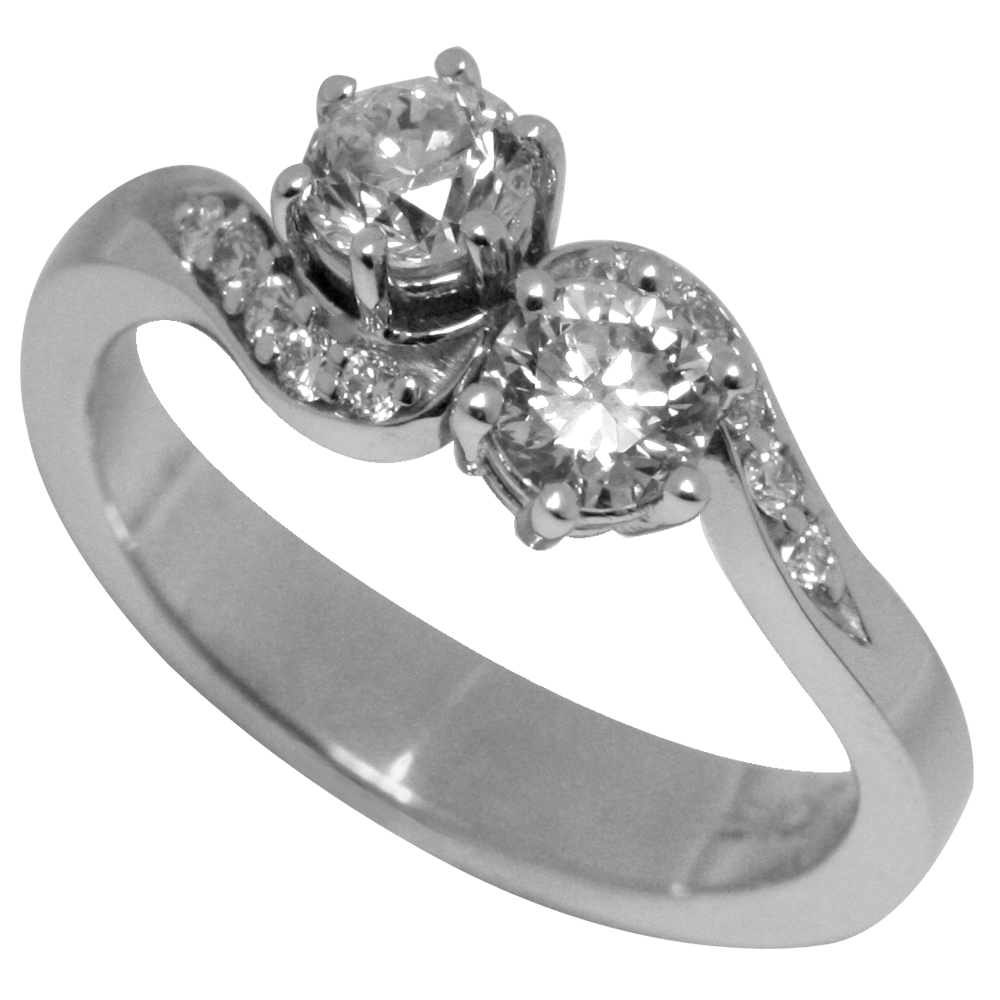 Gracefully Perched Two Stone Diamond Engagement Ring