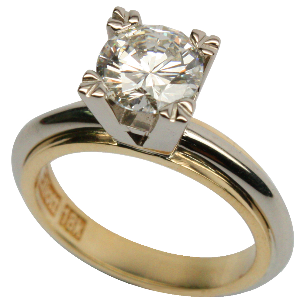 2 Tone Solitaire Engagement Ring in Rich 18k Gold!