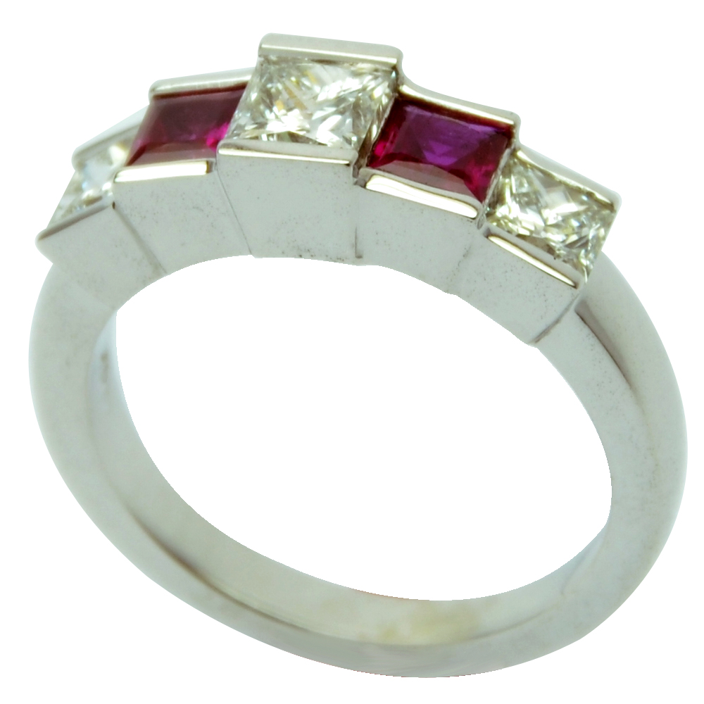 Channel Set Princess Cut Ruby and Diamond Band in 14k White Gold!