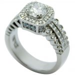 Vintage Inspired Platinum Halo Engagement Ring With Blue Accent Diamonds!
