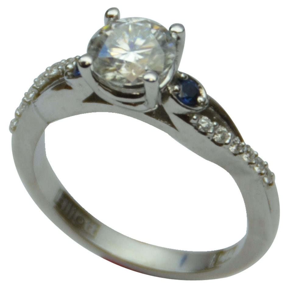 Custom Diamond Solitaire with pave and petite sapphire sides!