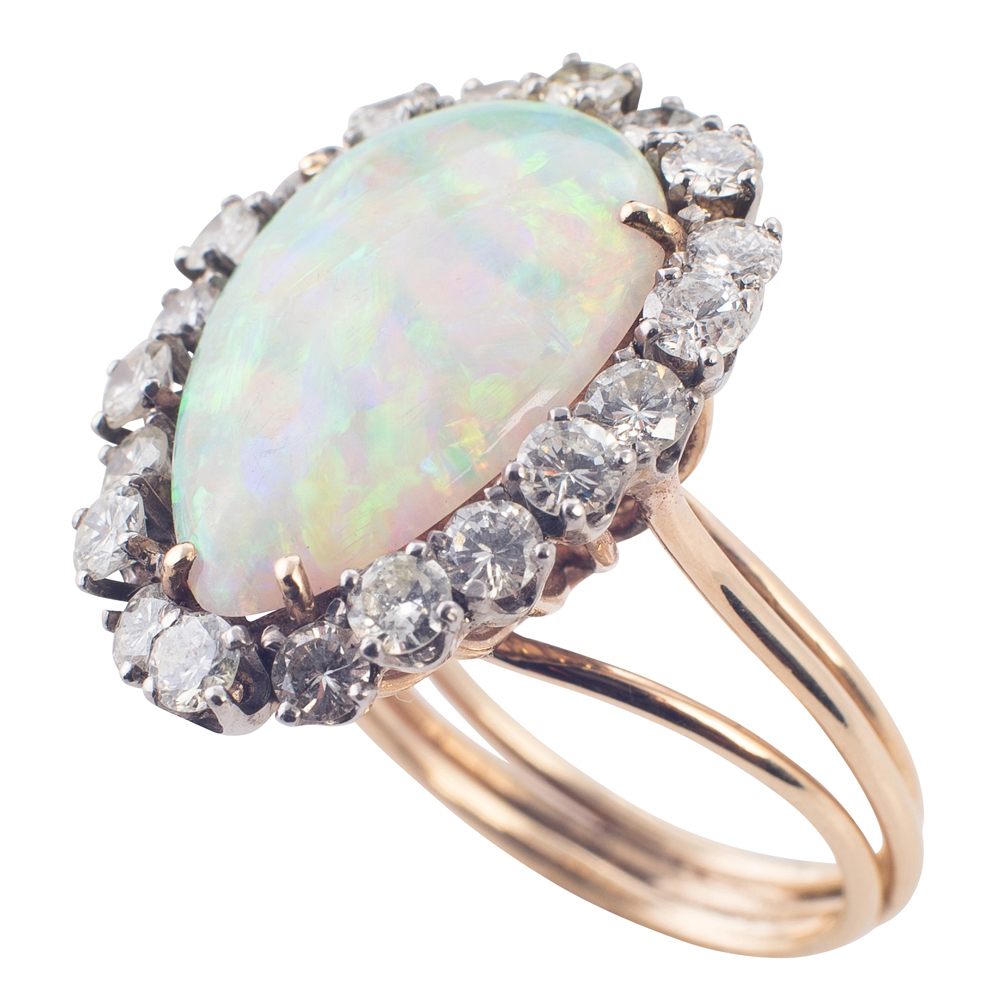 Stunning Large Opal and Diamond Ring!