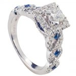 Stunning 14k White Gold Engagement Ring With Sapphire Sides!